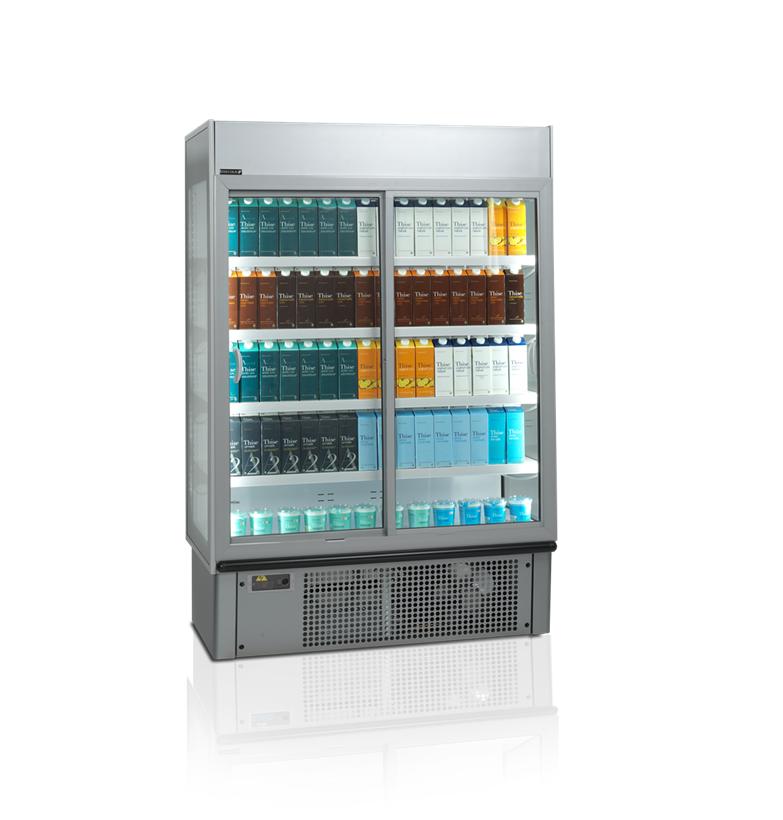 Kølereol med glasdøre og varer